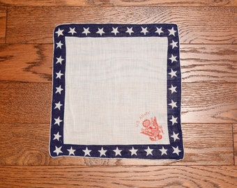 vintage 40s US Army handkerchief United States Army hankie red white blue star border 1940 WWII WW2