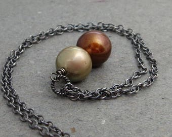Copper, Champagne Pearl Necklace Pendant Oxidized Sterling Silver Gift for Girlfriend June Birthstone Large Pearls