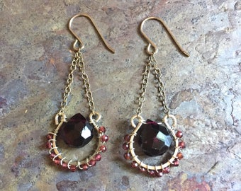 Garnet gemstone sterling silver dangle earrings