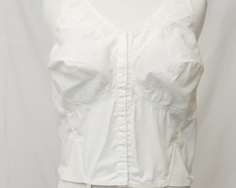 Vintage Naturalwear by Camp Cotton Corset. Hooks up front with lace at cup bottom and V Neck.