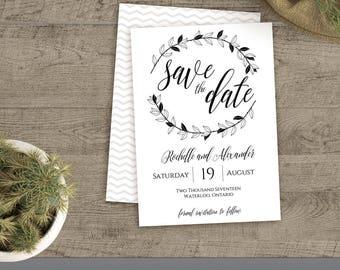 Wedding Save the Date Template, Printable Rustic Wedding save the date, Editable template, Instant Download, DIY, PDF #00010B