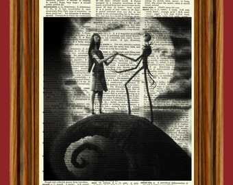 Jack Skellington & Sally Upcycled Dictionary Art Print Poster