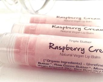 Raspberry Cream Vegan Lip Balm. Natural Triple Butter Lip Balm.