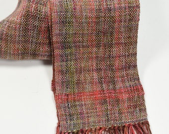 Handwoven scarf Noro Tencel silk mohair coral pink olive