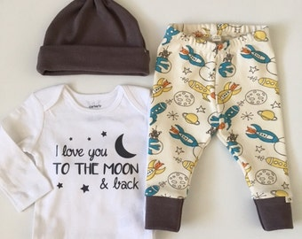 NEW! To the Moon and Back/Newborn Outfit/Bring Home Outfit/Infant Joggers/Charcoal Accent/Organic