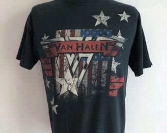 Vintage Unisex Adults 90's Van Halen, T Shirt, Black, Short Sleeve (L)