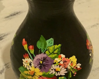 Antique Victorian Lacquered Hand Painted Terracotta Floral Vase, Folk Art