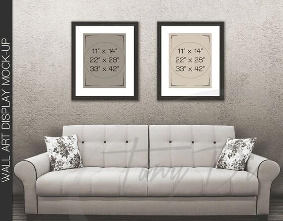 11x14 22x28 33x42 White Sofa Wall Interior 1 Black Frames