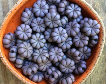 12 plastic flat pumpkin shape beads flat gray