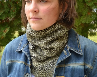 Knit Infinity Cowl Scarf, BRIDGER, Hand Knit in BROWN Variegated triangle bandana (1155)
