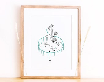 Art print A4 Unicorn illustration wall art minimal garden - Serie West -  Limited Edition of 50