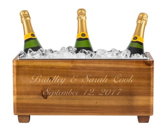 Personalized Wedding Wooden Wine Trough-Rustic Wine Trough-Engraved Wine Trough
