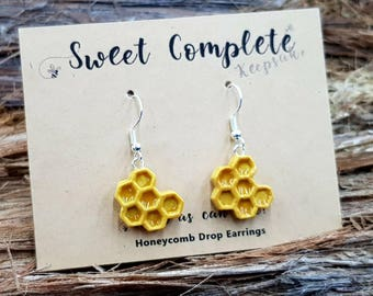 Honeycomb Drop Earrings with Sterling Silver wires