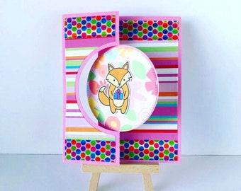 Fox Birthday Card, Flip Card, Birthday Flip Card, Interactive Birthday Card, Happy Birthday Card, Child Birthday Card, Animal Birthday Card