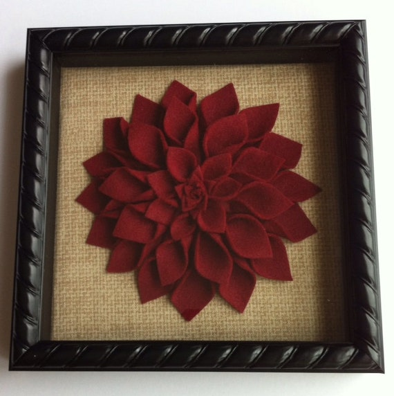 Framed Burgundy Felt Dahlia Wall Decor 8x8 Black Shadow Box