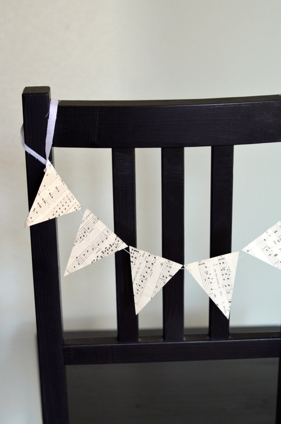Music Bunting Chair Garland - vintage music banner