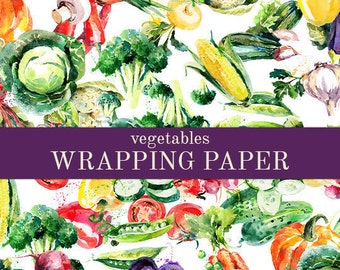 Vegetables Wrapping Paper |  A Varitey Of 20 Vegetables In Watercolor Style | Gift Wrap In Two Sizes Great For Any Occasion. Made In The USA