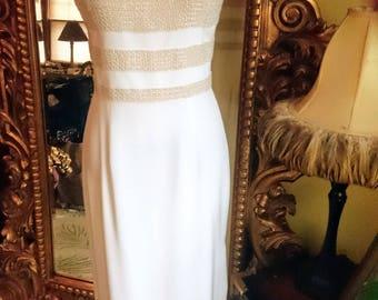 Vintage Oleg Cassini Black Tie White Silk Beaded Gown