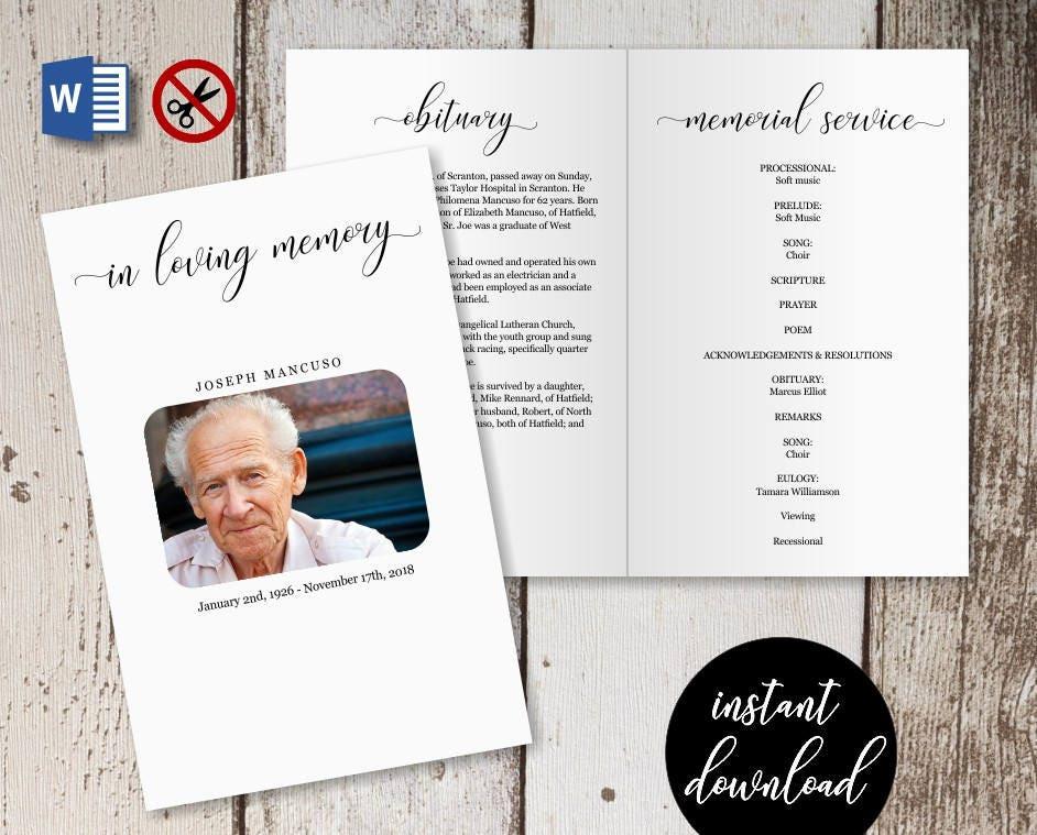 Funeral Program Template - Printable Memorial Service Pamphlet ...