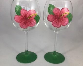 Hibiscus Pink Flower Wine Glasses