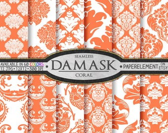 Coral Damask Digital Paper: Coral Damask Paper, Coral Scrapbook Paper, Coral Patterns, Downloadable Coral Backgrounds, Printable Coral Paper