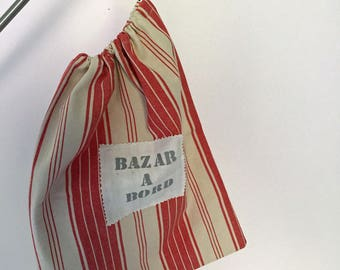 storage pouch in red and ecru striped cotton linen, slippers...;