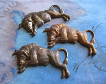 2 PC Taurus the Bull Brass Stamping - KK24