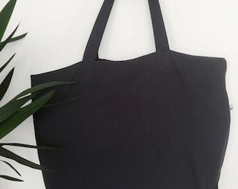 Black washed linen with inside zip pocket Tote