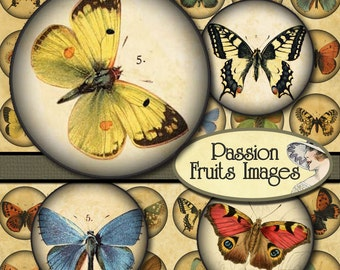 Antique Victorian Butterflies Digital Collage Sheet- 1 1/8 inch circles--Instant Download