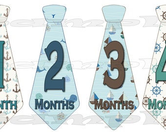 PRECUT 12 Onepiece Tie Stickers Monthly Stickers Infant Month Stickers Nautical Baby boy sailor month to month decal Month Baby Stickers set