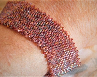 One of a Kind Handwoven Multiple Wine Colors Peyote Stitch Bracelet Gift for Mom