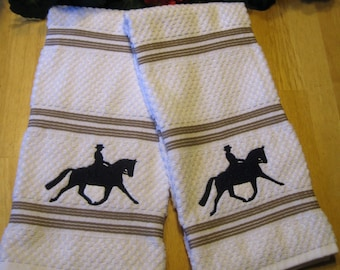 Set of 2 Large Cotton Terry Kitchen Dish Towels with Dressage Horse Silhouette in Extended Trot to Right in black thread horse equestrian