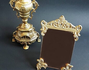 SALE Vintage French Vanity Mirror Antique Gilt Brass Mirror Dressing Table Mirror Makeup Mirror Rococo Style.