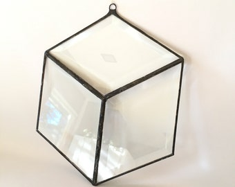 Clear Stained Glass Beveled Hexagon Suncatcher