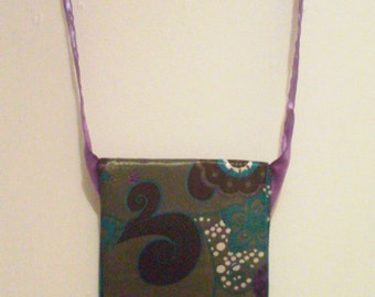 Purple, Brown, Teal, Green, and White Messenger Bag with Ribbon Strap