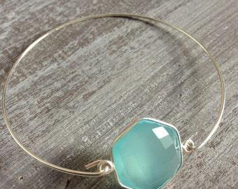 Blue chalcedony bracelet