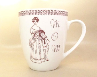 Old Fashion Mother Ceramic Mug For Traditional Mom UpCycled in White and Sepia