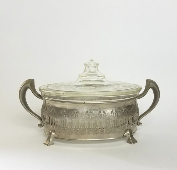 "Vintage Pyrex Lidded Oval Etched Casserole Dish Silver Plate Footed Stand With Trophy Handles -""Ships International"" Email For Rates"