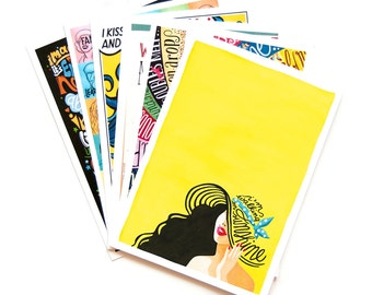10 Music Postcards, Pop Song Illustrations, Pop Music Typography Song Lyrics Art, Fun Stationery, Creative Gift, Music Gift, Postcard Pack