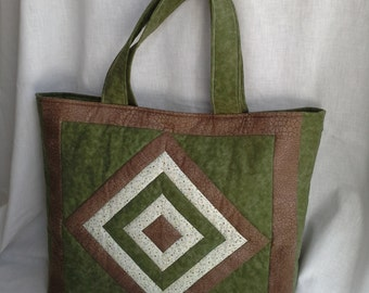 QUICKSHIP- The perfect Earth Tone Quilted Tote