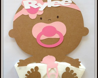 Baby Shower Napkins-African American Baby Shower Napkins-Baby Shower Decor- Baby Shower Favor- Baby Girl Shower Napkins-Girl Baby Napkins