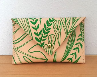 Leather Envelope Wallet in Tropical Print