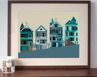 San Francisco Painted Ladies Houses Art Print - Grey