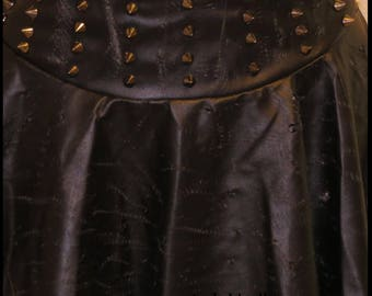 Post Apocalyptic Skirt Black Faux LEATHER SPIKES Skirt