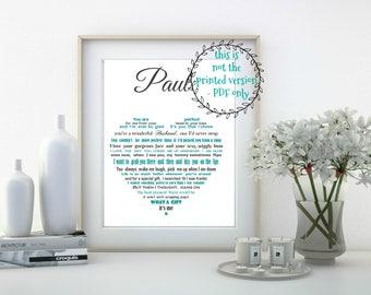 Personalised Husband Gift, Anniversary gift for Husband, Personalized gift for him, Husband Birthday Gift, Printable poem, Custom poem