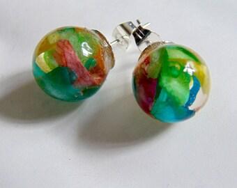Rose Petal Earrings, Real Flower Earrings, Rainbow Jewelry, Flower Studs, Resin Studs, Eco Resin, Orb Earrings, Gift for Her