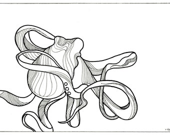 "Octopus Drawing - Coquettetopus - Fine Art Giclee Print of 7""x5"" Black and White Drawing"
