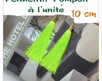 Silk thread tassel pendant individually Fluo yellow gold 10 cm