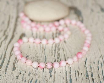 pink bead necklace women's gift for girl style necklace beaded wife necklace white long necklace chunky gemstone jade pink jewelry summer