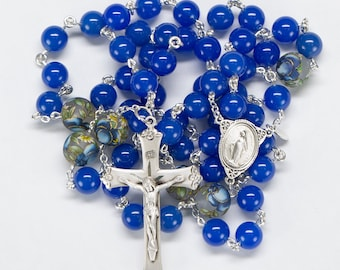 Tensha Bead Blue Onyx Rosary for Catholic Women & Mothers, Sterling Silver, Miraculous Medal, Handmade, Unique, Custom Heirloom Gift for Mom